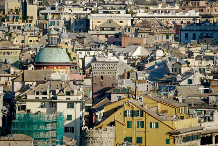 The roofs of the historic center of the italian city of genoa with natural sunlight.