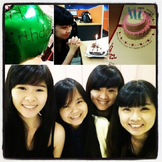 HAPPY 19TH To One Of My Sweetheart hehes. Advanced Birthday Surprise in office early in the morning, our first ever time mini celebration. Photos of the day for @sinyeemidori . With @triciazayn @zhangmeiting and @calcaire (her soul LOL) POTD Celebration Surprise 19th  yay endoftheweek itsfriday birthday advanced