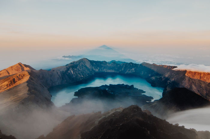 INDONESIA Perspectives On Nature Sumit Vulcan Beauty In Nature Day Idyllic Landscape Mountain Nature No People Outdoors Physical Geography Scenics Sky Sunrise Sunset Tranquil Scene Tranquility Travel Destinations Water