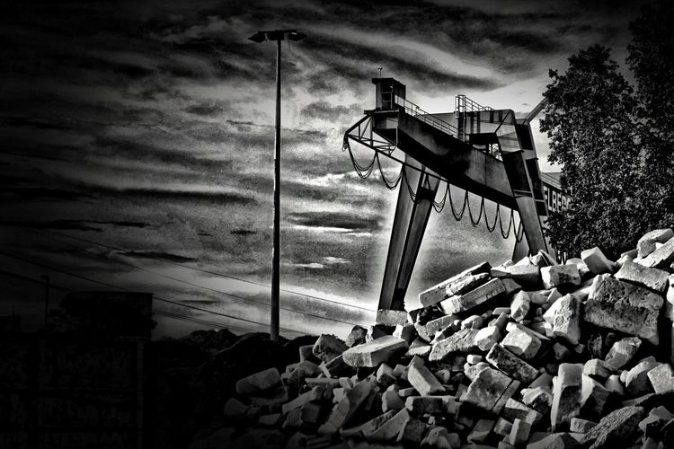 Allegory Blackandwhite Cloudy Empire Industrial Industrial Landscapes Low Angle View Stones