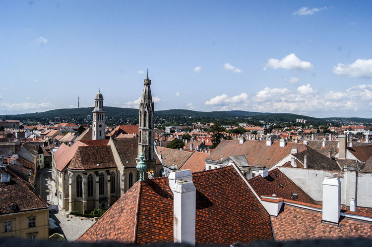 Sopron Architecture Building Exterior Built Structure City Cityscape Firetower High Angle View No People Outdoors Roof Sky Town Tüztorony