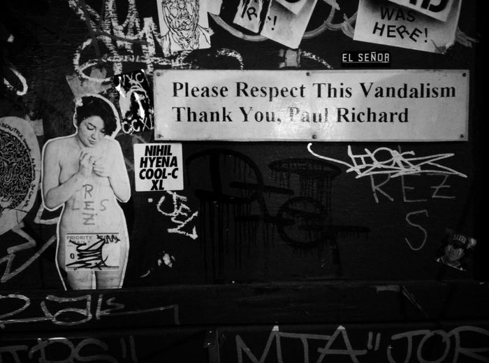 Things I Like - Humor - NYCImpressions Respect Vandalism Monochrome NYC Street Photography