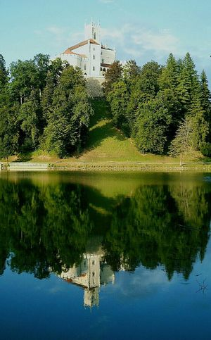 Water Reflection Lake Outdoors Sky Tree Nature Day Architecture Castle Trakošćan 13.century Hrvatsko Zagorjee Croatia...