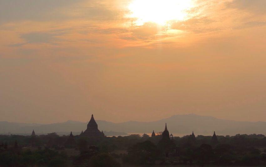 Bagan Pagoda Myanmar Myanmar Pagoda Outdoor Sunset Nature Travel