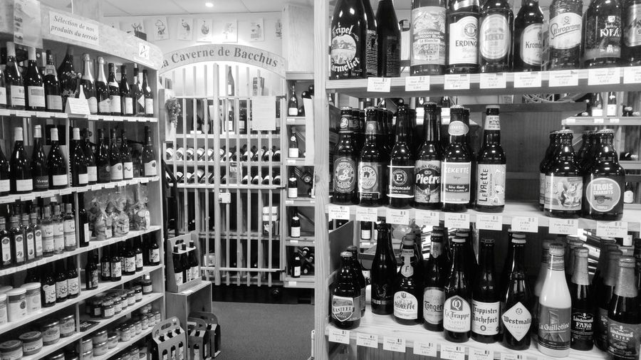 Bottle Alcohol Drink Wine Bottle Large Group Of Objects Food And Drink Wine Indoors  Variation Choice Shelf Abundance Liquor Store Refreshment Arrangement No People Blackandwhite Black And White Wine Not