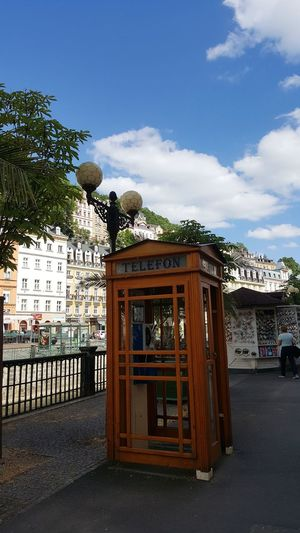 Karlovy Vary Chez Republic Cloud - Sky Sky Travel Destinations Street MomentsToRemember Art Is Everywhere Culture Heritage Telephone Box Telephone Photography Telephone Cabin Telephone History A Point Of View A Day In Your Life Ancient Architecture Building Beauty In Nature Call This Art