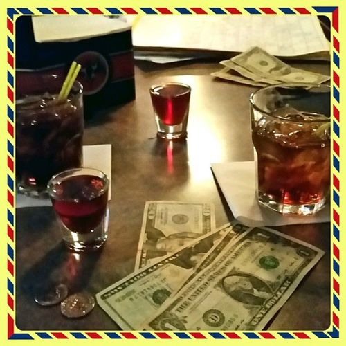 CC and cokes & shots of cherry mugillacuty's. got to prime the pump for Lambeaufield tomorrow. Go Packers Partylikearockstar GreenbayPackers Imbackinthenewyorkgroove Instakool Instafollow Alike to party
