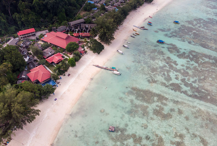 High angle view of houses at beach against trees