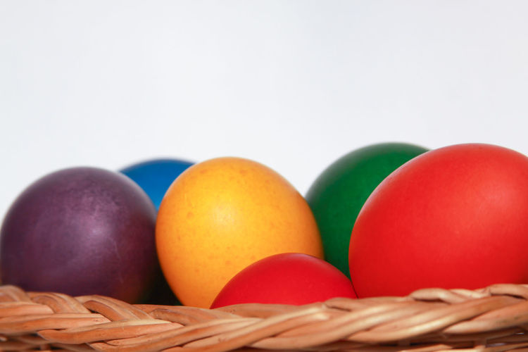 Close-up of multi colored candies in basket