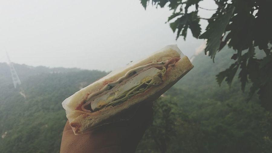 북한산 정상에서 먹은 샌드위치 맛있네..