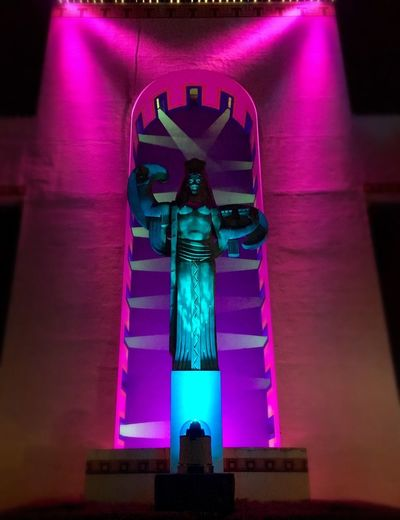 Statue Illuminated Sculpture Low Angle View Indoors  No People Night Multi Colored Architecture Texas State Fair end of a long day