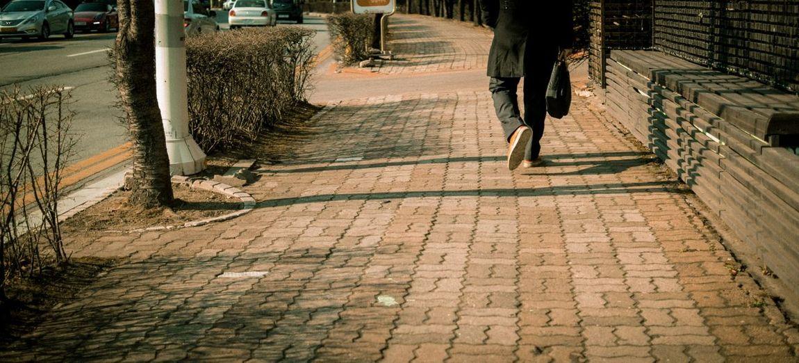 Rear view of person walking on sidewalk