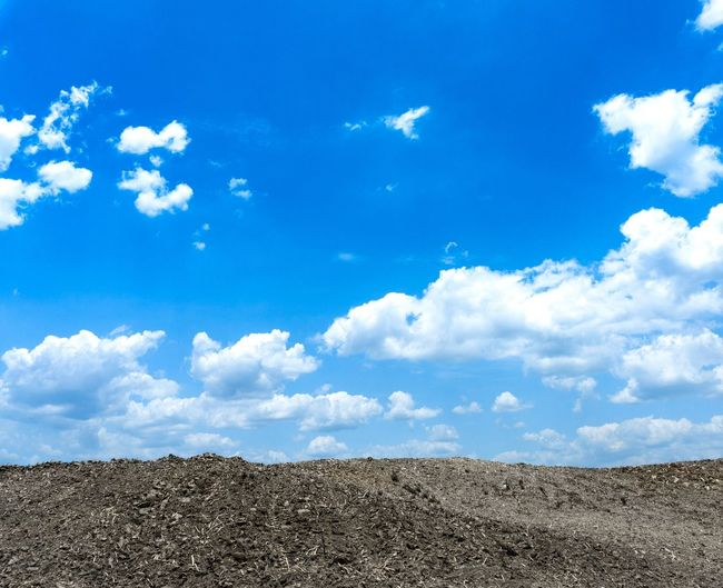 cloudy on blue sky on the land prepared for cultivation. Copy Space Blue Sky Cloud - Sky Sky Cultivation Prepared Land Sky Cloud - Sky Blue Day Nature No People Beauty In Nature