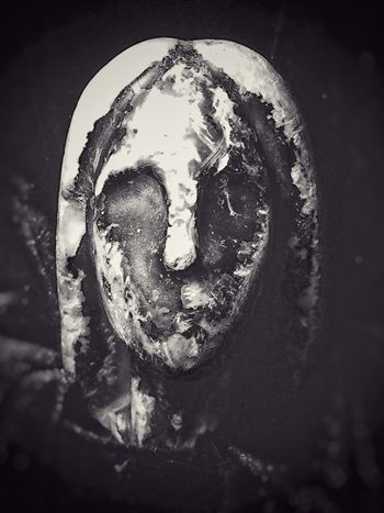 Lonely Statue Lost And Found Artefact Black And White Close-up No People Spooky Creepy Dark Indoors  Day Melancholy Melancholic History Battered Effects Of Time Passage Of Time Face Sadness