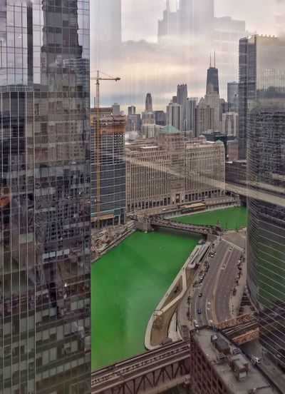 🍀🍀🍀🍀Green River ✳️✳️✳️✳️ Chicago Is My City Chicago Skyline Chicago Architecture Chicago Work Quiet St Patrick's Day Sunday My View View From The Window... View Window Reflection_collection Reflections In The Water Architecture Built Structure Building Exterior City Building Sky Cityscape