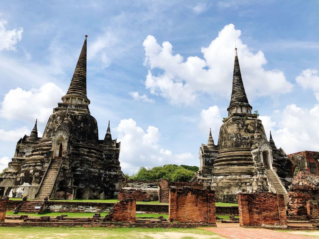 Sky Nature_collection Ayutthaya Thailand_allshots Thailand Ruins Old Buildings Temple Ancient Built Structure Architecture Building Exterior Cloud - Sky Religion Sky Building Belief History The Past Travel Destinations Nature Day No People Spire  Outdoors Ancient Civilization