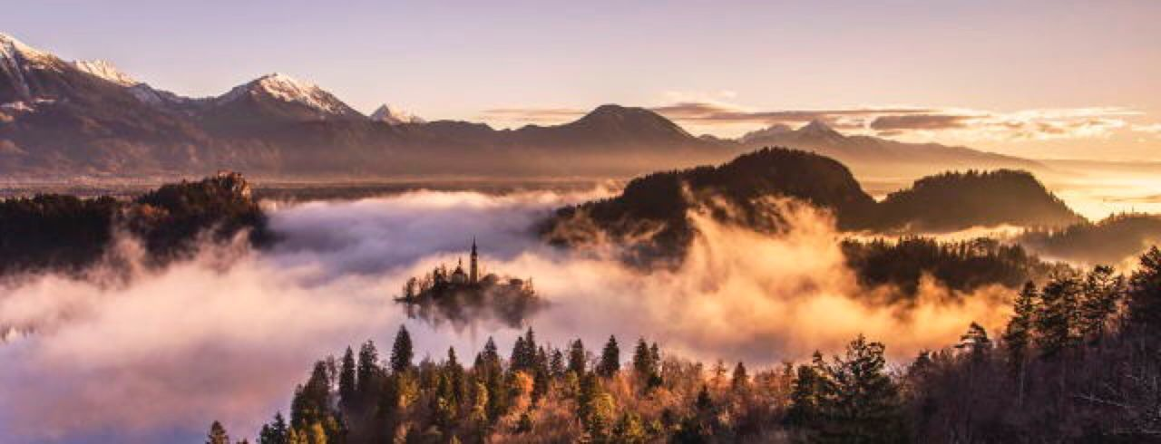 Lake bled in slovenia EyeEm Selects Tree Mountain Nature Forest Scenics Pinaceae Beauty In Nature Pine Tree Sunset Morning Mountain Peak Sky Landscape Fog Tranquility Outdoors Environment Cloud - Sky No People Mountain Range