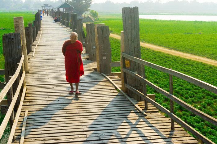 #Monk #Morning #Myanmar #Wood #bridge #green #sony #travel #travelling #travelphotography Adult Walking