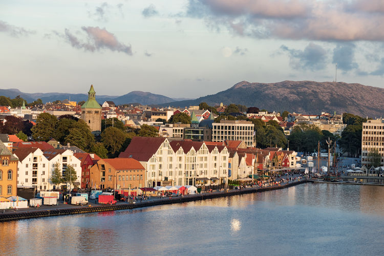 View of the Marina and city center of Stavanger, Norway. Stavanger Building Exterior Sky Architecture Cloud - Sky Built Structure Water City Nature Cityscape Sea Waterfront Building No People Residential District Outdoors