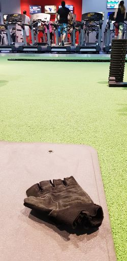 High angle view of ball on table at lawn