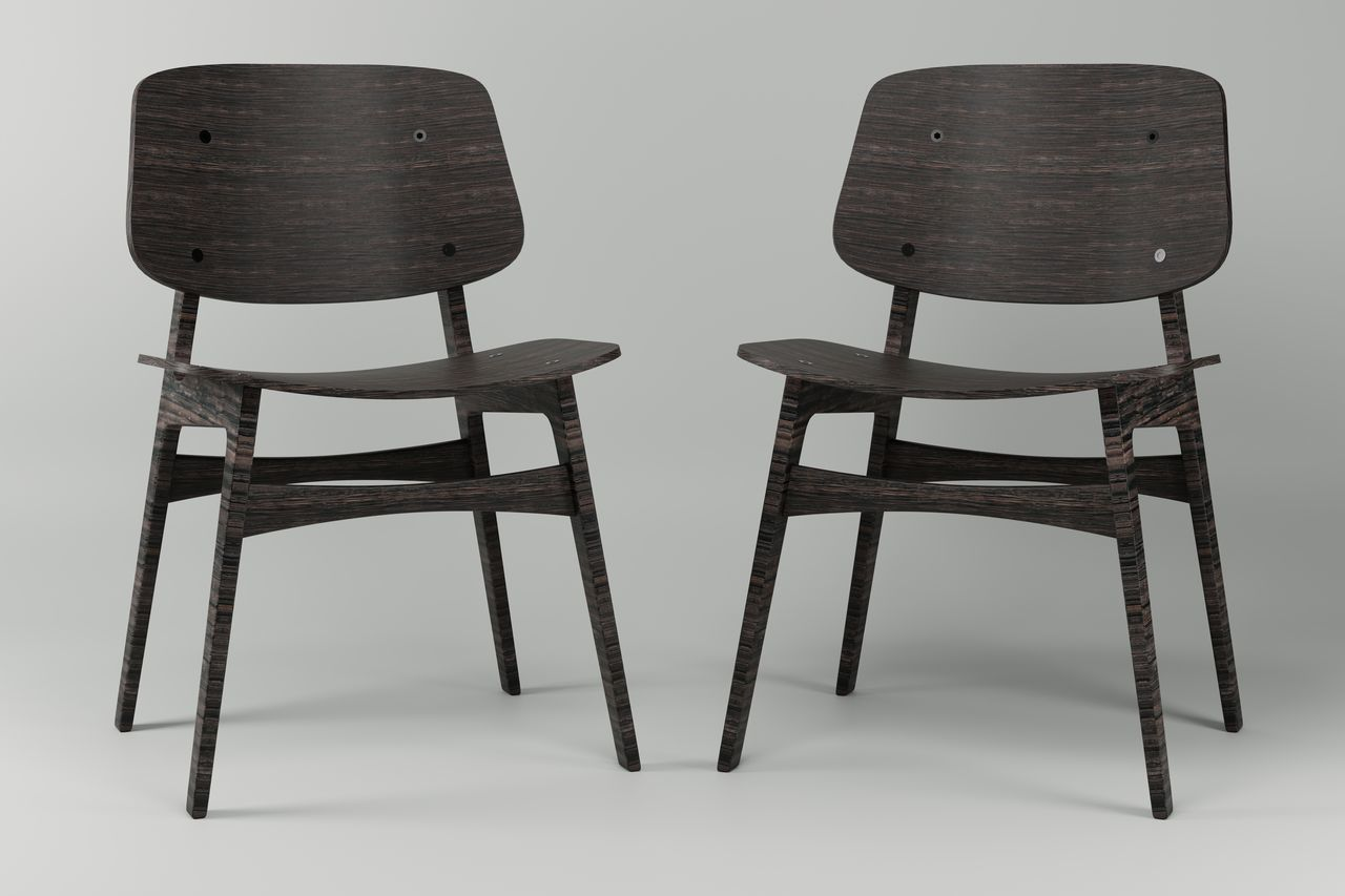 EMPTY CHAIRS ON TABLE AGAINST WALL