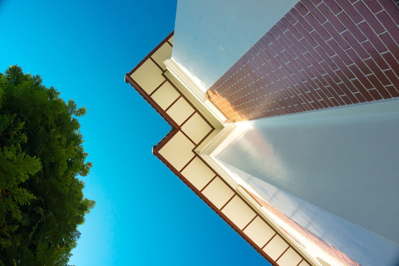 Architecture Blue Sky Built Structure Compare Low Angle View Old Outdoors Retro Sky Space Tree