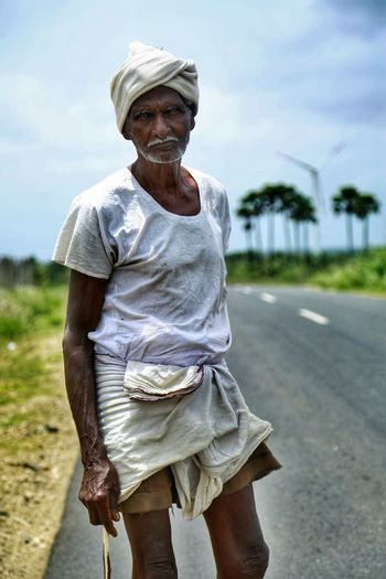 #oldman Streetphotography Indiapictures This Is Aging Portrait Looking At Camera Senior Adult Rural Scene Sky