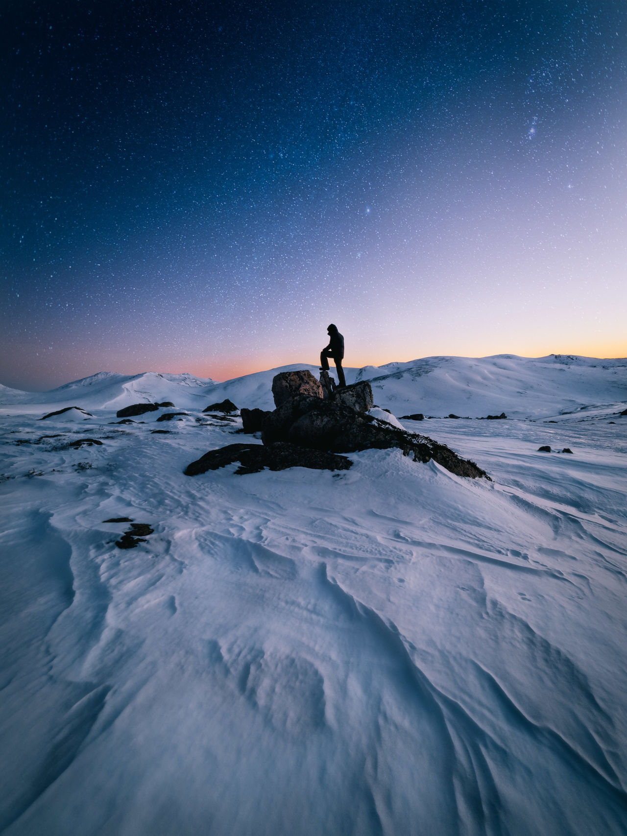 Silhouette Man Standing On Rock At Snow Covered Mountains Against Sky