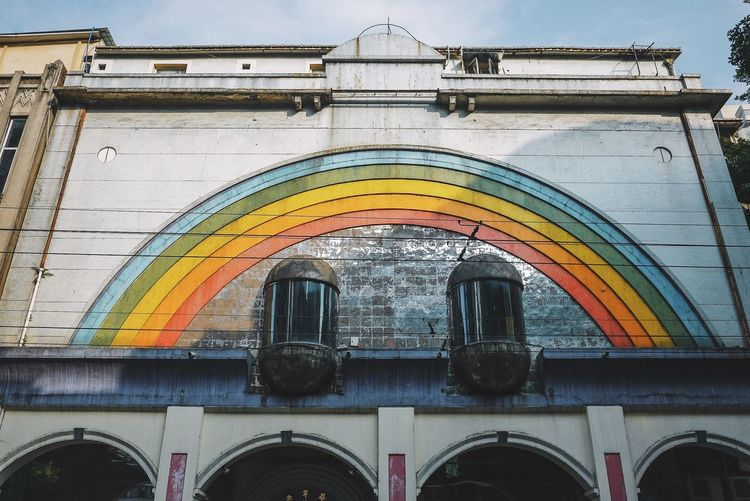 Ihaveathingforwalls Rainbow Architecture Built Structure Arch Low Angle View Day Building Exterior No People Multi Colored Nature Sky Art And Craft