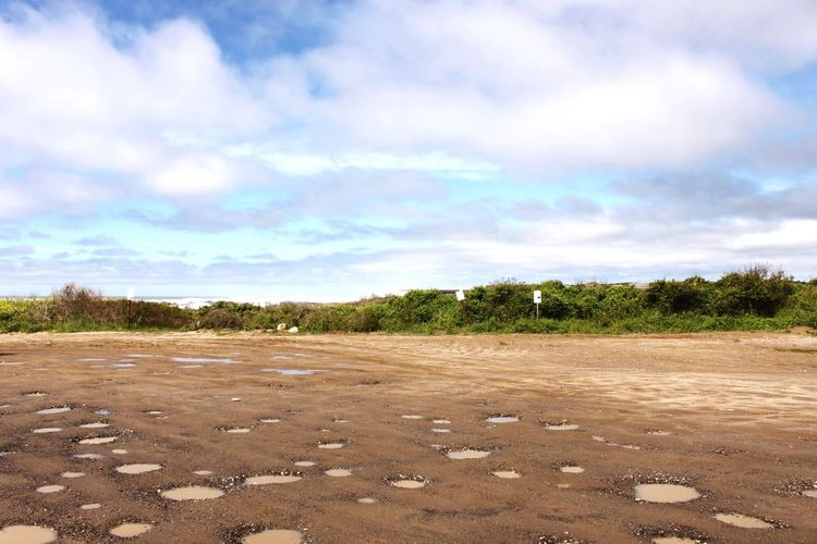 Montauk Ditch Plains New York After The Rain After The Storm Puddles Puddle Parking Lot Sky