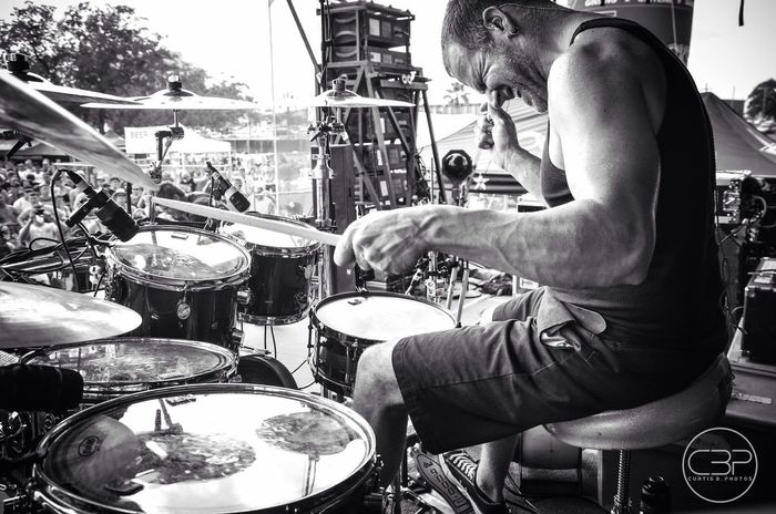Griff from @withinreasonmusic at Uproar ROCKSTAR festival Drummer Black & White Concert Photography Curtisbphotos