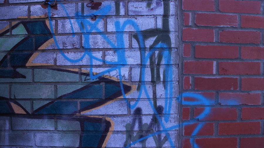 Full frame shot of graffiti on brick wall
