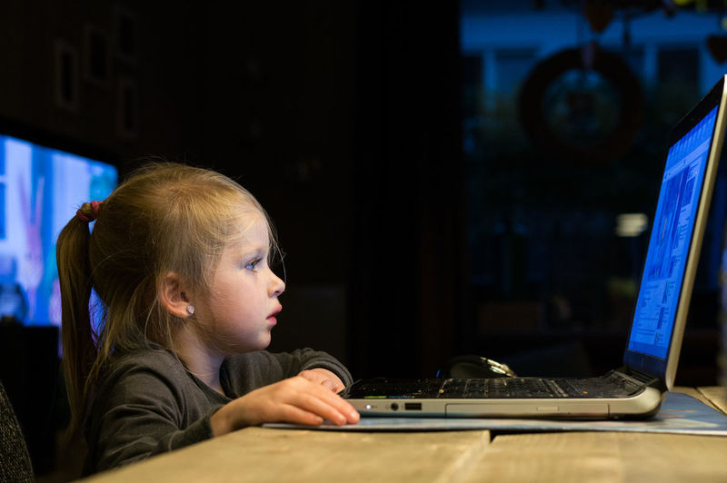 Concentration Technology One Person Computer Real People Connection Sitting Desk Blond Hair Computer Monitor Using Computer Internet Dedication Kids And Technology Laptop Indoors  People Child Girl