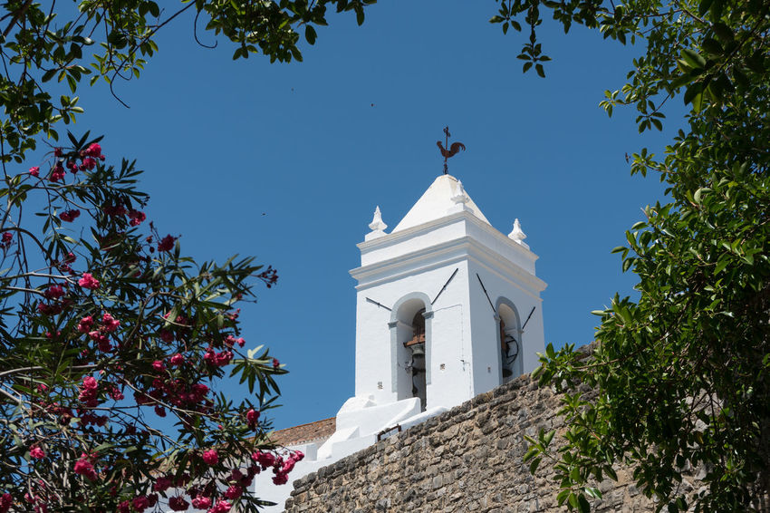 Tavira Old Town Arch Architecture Belief Building Building Exterior Built Structure Day Low Angle View Nature No People Outdoors Place Of Worship Plant Religion Sky Spire  Spirituality Sunlight Tower Tree White Color
