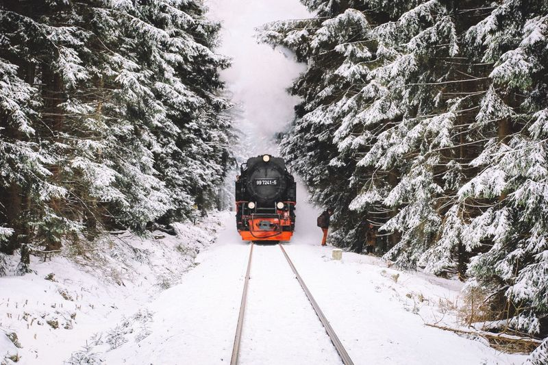 Merry Christmas Train Snow Vscocam Nature Mountains Outdoors Forest On The Road Landscape Exploring Winter Power In Nature Christmas Rural Harz Winter Wonderland Polar Express