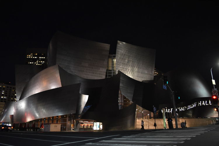 Architecture City Concert Hall  Disney Hall Illuminated Los Angeles, California Night No People Outdoors