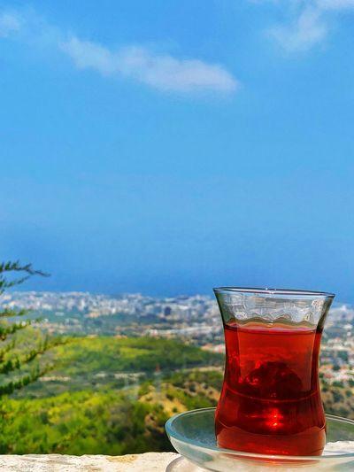 View of Cyprus With Turkish Tea✨ Manzara Doğa çay Girne Kıbrıs Cyprus Drink Glass Drinking Glass Food And Drink Household Equipment Refreshment Tea - Hot Drink Tea Freshness Hot Drink No People Food Sky Nature