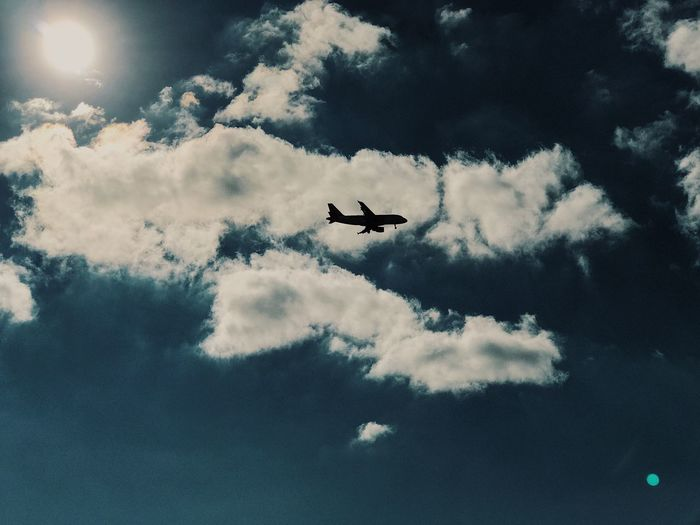 Flying Sky Low Angle View Transportation Airplane Cloud - Sky Mid-air No People Day Outdoors
