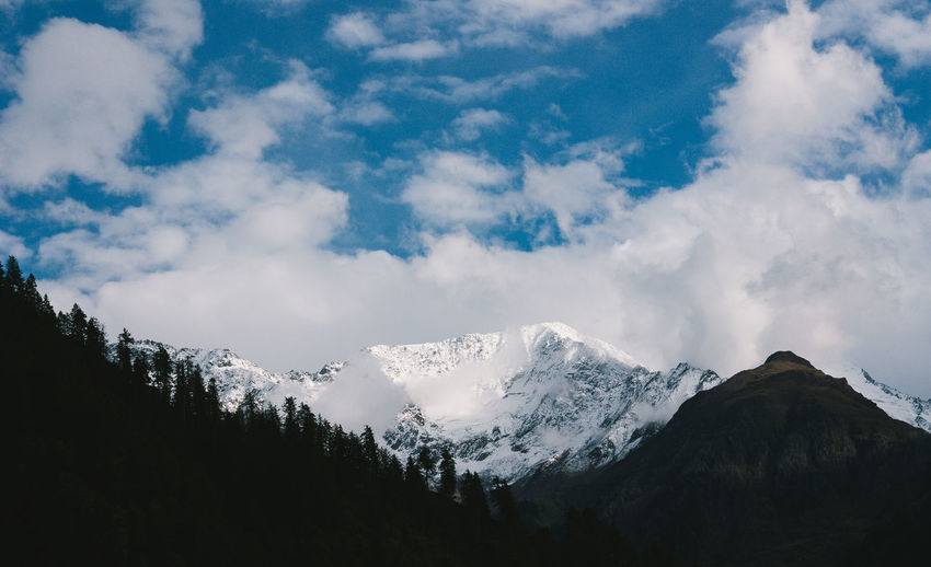 Beauty In Nature Cloud - Sky Cold Temperature Covering Himachal Himalayas Idyllic India Kasol Landscape Majestic Mountain Mountain Range Nature Non-urban Scene Scenics Season  Sky Snow Snow ❄ Snowcapped Mountain Tranquil Scene Tranquility Weather Winter