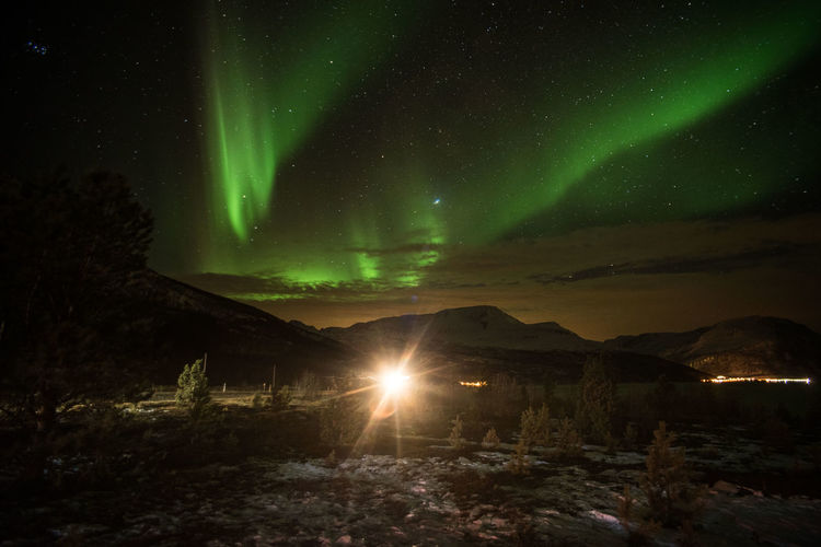 Night Sky Scenics - Nature Beauty In Nature Green Color Nature Tranquility Aurora Borealis
