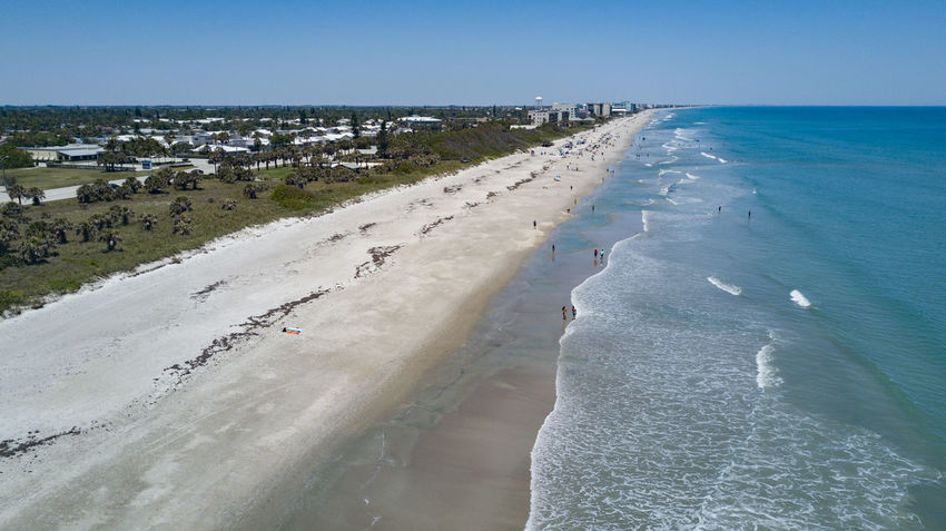 A day at the beach in Florida Atlantic Ocean Brevard County Melbourne, Florida Beach Blue Water Clear Sky Day Horizon Over Water Nature No People Outdoors Relaxation Sea Sky Tourism Water