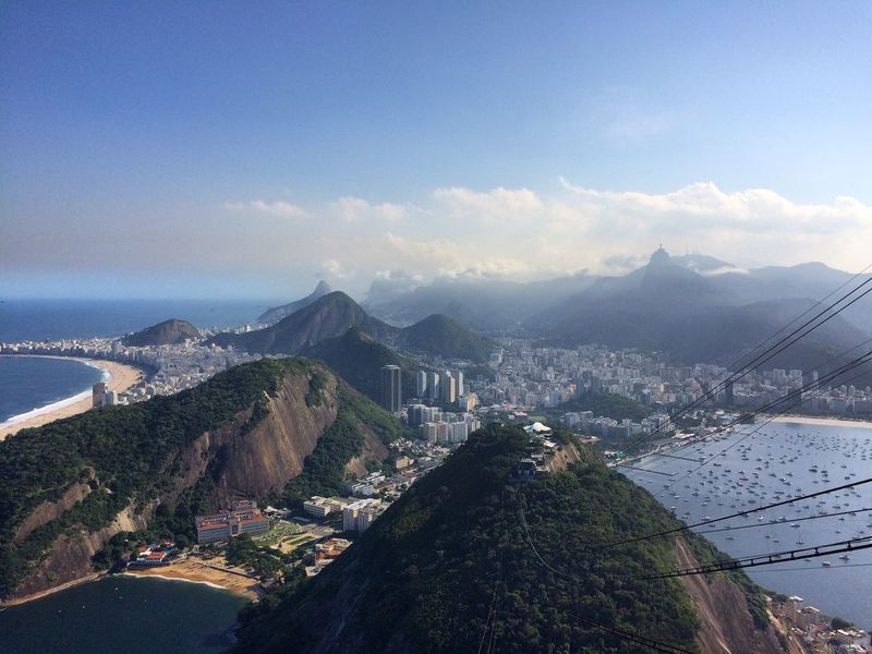 Beach Brazil Cable Car City Cityscape Exotic Funicular High Angle View Hills Landscape Mountain Mountain Range Outdoors Praia Vermelha Pão De Açucar Rio Rio De Janeiro Scenics Sky Sugarloaf Travel Destinations