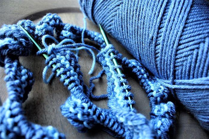 The beginning of woolen art Blue Close-up Craft Crazy Knit Knitting Knitting Needle Knitting Needles Needle No People Skein Woolen