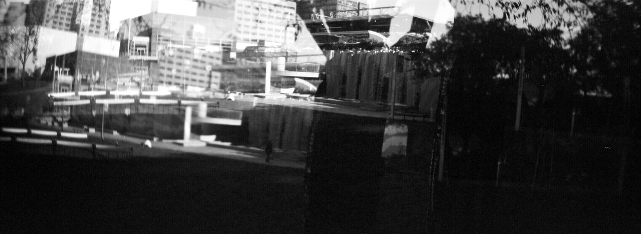 Double Exposure Sprocket Rocket Panorama Building Exterior Built Structure Architecture City