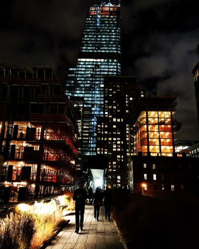 Architecture Building Exterior Built Structure Illuminated City Night City Life Walking Outdoors Real People Sky Skyscraper Transportation Cityscape NYC Photography Thehighline FenixcrossPhotography
