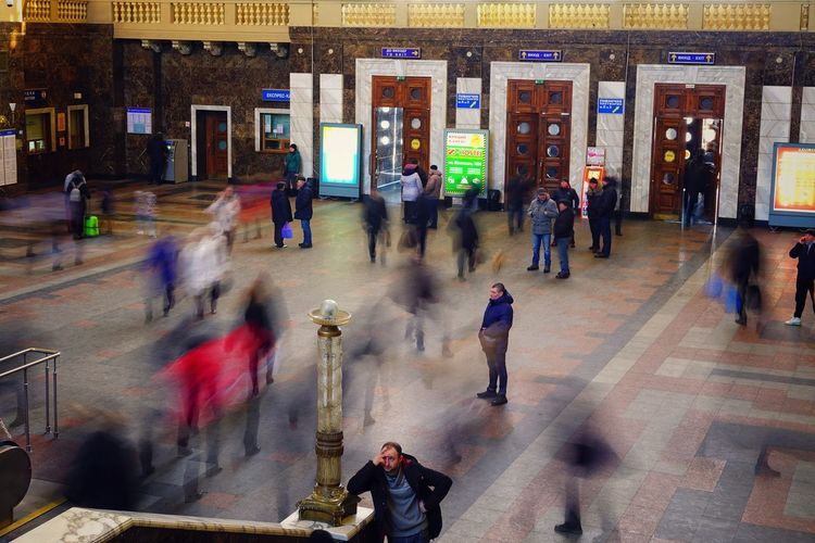 Kyiv-Pasazhyrskyi railway station, Kyiv, Ukrainе. Transportation Outdoors Kyiv Kyiv,Ukraine Ukraine Ukraine 💙💛 Railroad Station Interior Historical Building Inside Public Transportation Public Transport Public Blurred Motion Group Of People Motion Crowd Long Exposure Real People Large Group Of People Architecture Walking Lifestyles Built Structure City City Life
