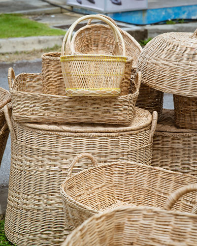 High angle view of wicker basket at market