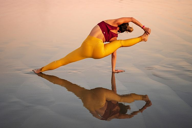 Sunset vibes One Person Full Length Adult Women Flexibility Clothing Stretching Fashion Healthy Lifestyle Beautiful Woman Females Leisure Activity Lifestyles Balance Red Yellow Orange Color Young Adult Textile Relaxation