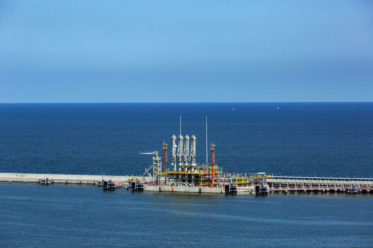 Baltic Sea Blue Business Copy Space Crude Oil Drilling Rig Fossil Fuel Freight Transportation Fuel And Power Generation Gas Port Horizon Horizon Over Water Industry Nature Offshore Platform Oil Oil Industry Sea Sky Transportation Water