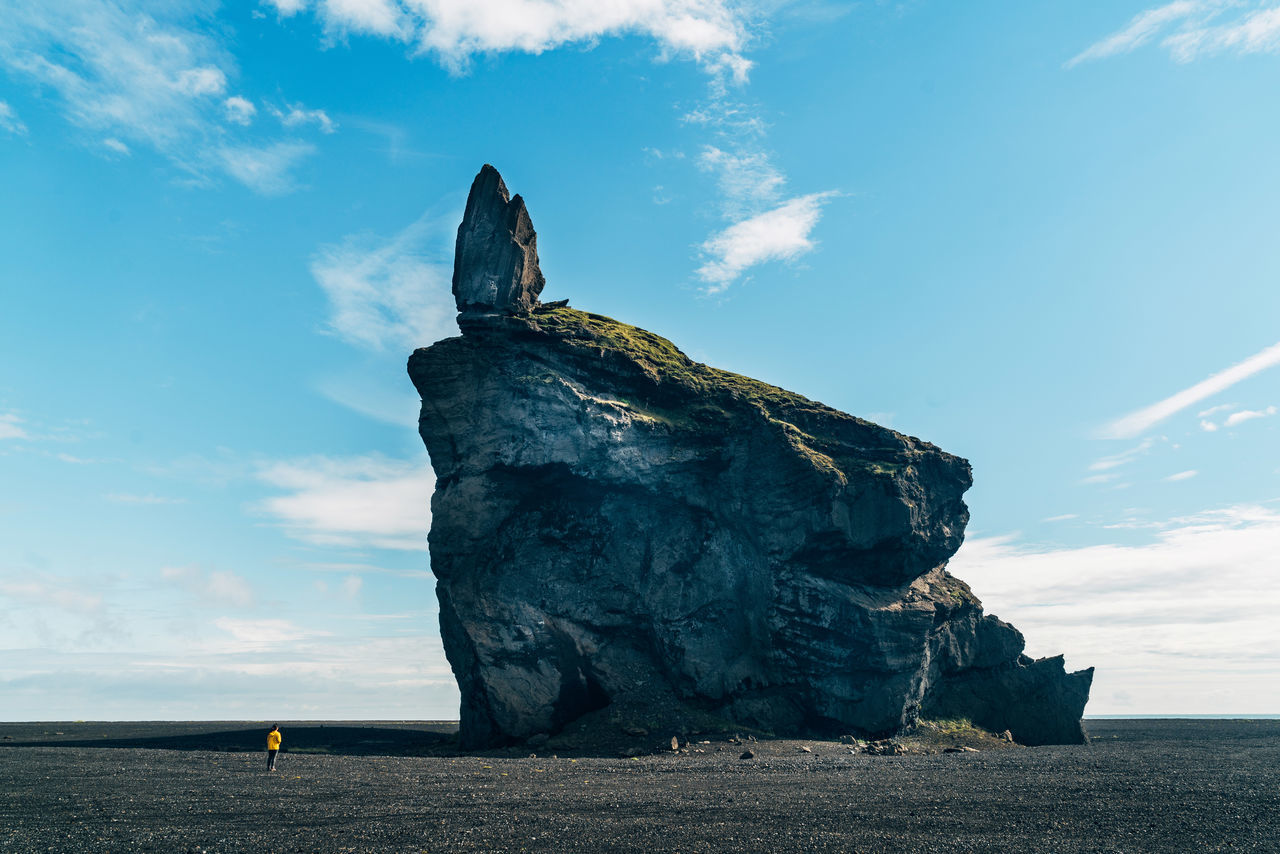Scenic View Of Rock On Beach Against Sky